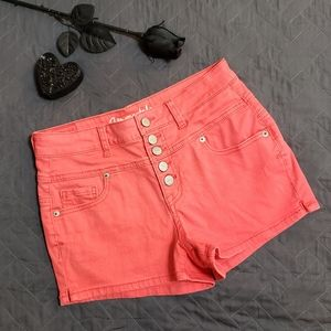 Aeropostale High Rise Shorty in Coral